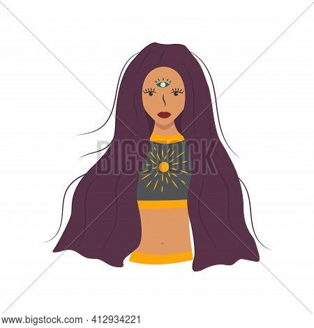 Beautiful Girl With Long Hair, A Third Eye In Her Forehead, Bright Sun On Her Chest. Enlightened, Aw
