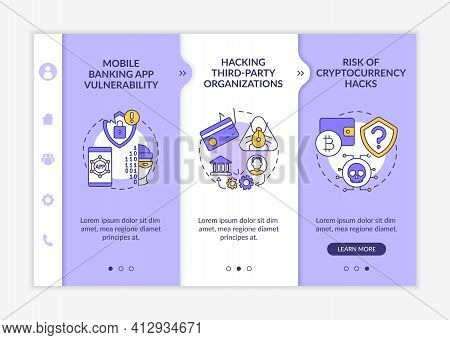Phone Password Hacking Threat Onboarding Vector Template. Mobile Banking App Vulnerability. Responsi