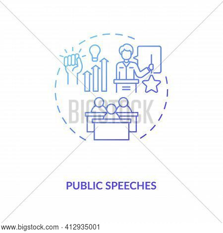 Public Speeches Concept Icon. Coaching And Motivation Idea Thin Line Illustration. Inspirational Inf