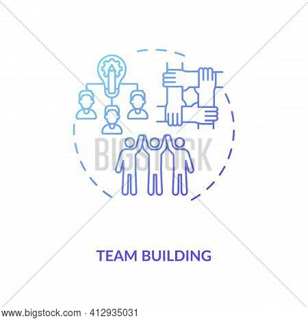 Team Building Concept Icon. Motivating Employees For Best Work Idea Thin Line Illustration. Teamwork