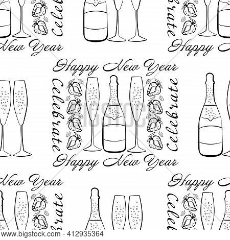 Champagne And Strawberry Celebrate Happy New Year Text Vector Seamless Pattern Background. Script Le