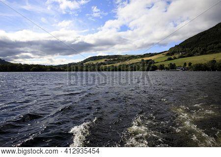 Loch Ness (scotland), Uk - August 02, 2018: Loch Ness Lake, Scotland, Highlands, United Kingdom