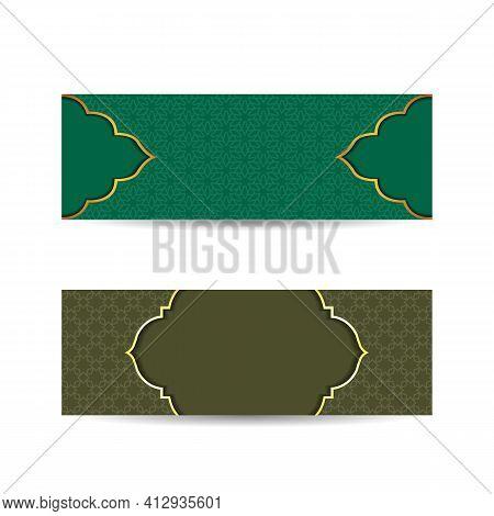 Set Of Islamic Banners With Arabesque. Vector Illustration. Banner Islam Ethnic Design. Islamic Back