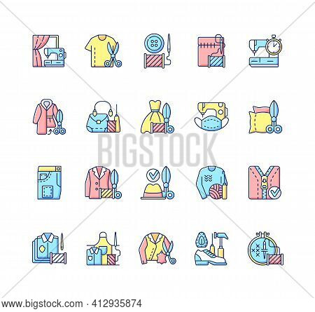 Clothing Alteration And Repair Services Rgb Color Icons Set. Professional Upholstery. Embroidery And