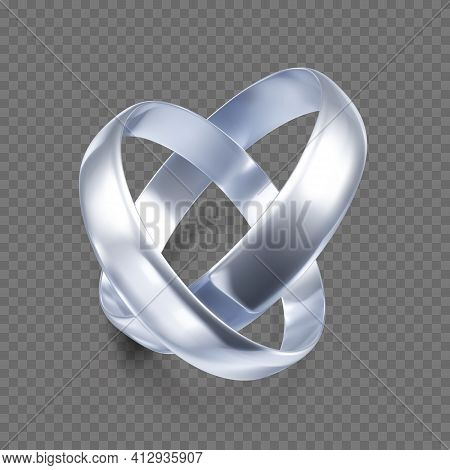 Couple Of Silver Or Platinum Wedding Rings. 3d Jewelry Object. Vector Illustration Isolated On Trans