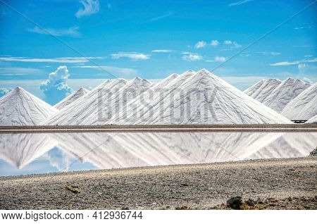 Salt Pyramids In Bonaire, Caribbean Island, Dutch Antilles. Salt Mountains, Salt Mountain Range. Sal