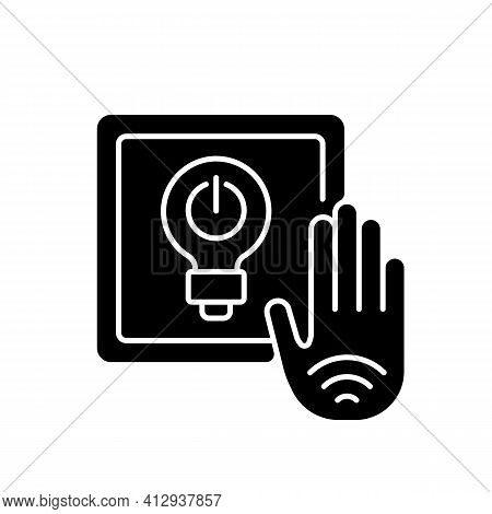 No Touch Light Switch Black Glyph Icon. Touchless Switches Incorporate Sensor That Detects Hand Trou