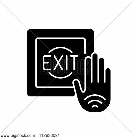 No Touch Exit Switch Black Glyph Icon. Exit Button With Infrared Sensor Which Allows User To Unlock