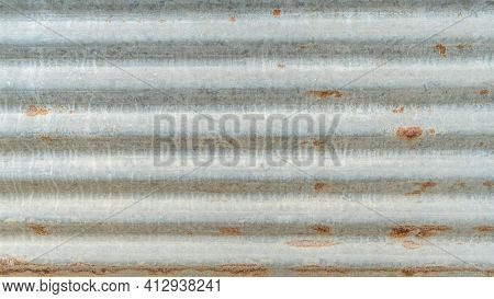 Corrugated Galvanized Rusty Metal Sheet Background With Old Aged Rust Texture On Zinc Tin Or Iron St