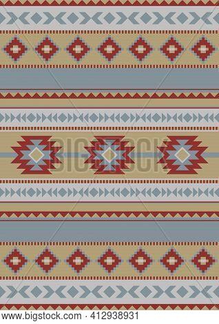 Ethnic Geometric Pattern. Seamless Pattern. Mexican Rug, Carpet Decor. Western Decor Style.