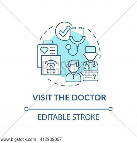 Visit The Doctor Blue Concept Icon. Therapist Appointment. Primary Care, General Practitioner. Famil