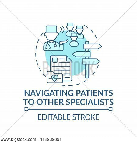 Navigating Patients To Other Specialists Blue Concept Icon. General Practitioner. Family Doctor Idea