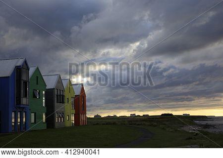 John O'groats (scotland), Uk - August 04, 2018: Colorful Houses At John O'groats, Caithness, Scotlan
