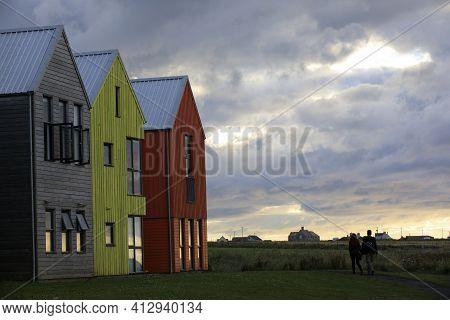 John O\'groats (scotland), Uk - August 04, 2018: Colorful Houses At John O\'groats, Caithness, Scotl