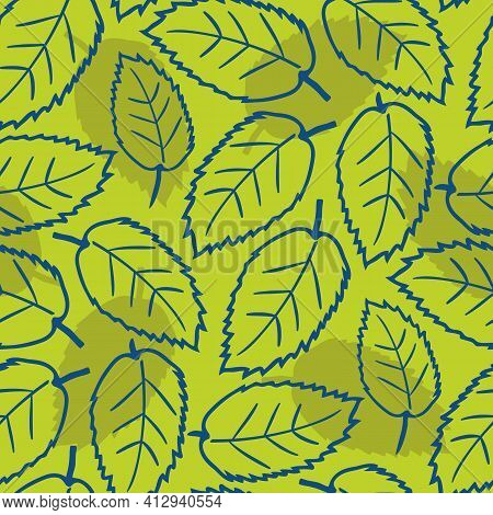 Elm Leaf Seamless Vector Pattern Background. Hand Drawn Line Art Single Leaves And Silhouette Shadow