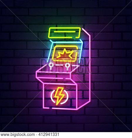 Retro Arcade Neon Sign Isolated, Bright Signboard. Arcade Game Logo Neon, Emblem. Vector Illustratio