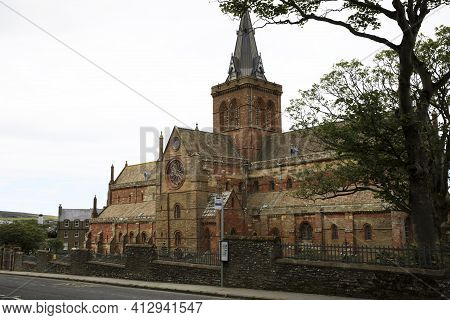 Kirkwall - Orkney (scotland), Uk - August 06, 2018: 12th Century Romanesque Saint Magnus Cathedral I