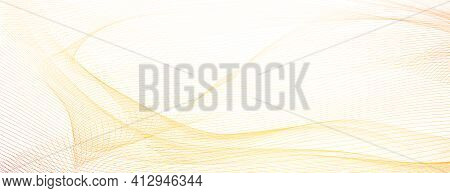 Light Red, Yellow Net Pattern, Guilloche. Pastel Colored Watermark. Flowing Subtle Lines, Squiggle C