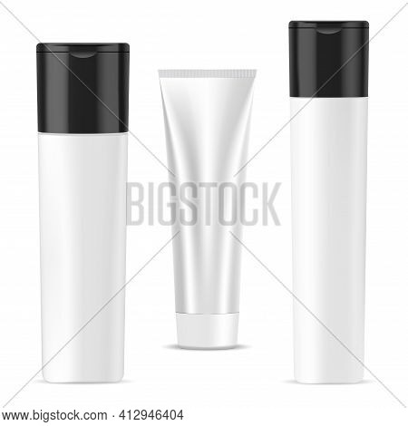Shampoo Bottle, Cream Tube, Cosmetic Package Mockup. Bath Gel Or Soap Container, 3d Vector Design Co