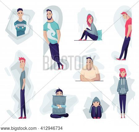 Group Of Depressed People. Sad Man And Woman In Different Poses Seating, Standing. Lonely Teenagers.
