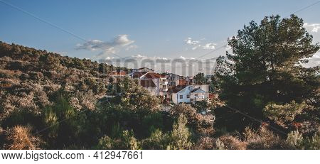 Panoramic View On A Summer Day With A Blue Sky At Home In A Croatian City. Mountainous Landscape. Su