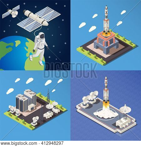 Isometric 2x2 Design Concept With Research Command Center Launching Rocket Astronaut In Outer Space