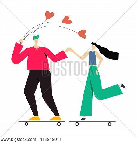 Young Couple Playing Surfing With Skateboard Or Surf Skates. A Man With A Balloon. Flat Design Vecto
