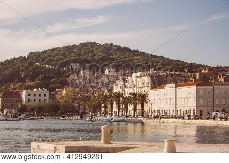 Beautiful Summer Landscape Overlooking The Croatian City In The Mountains With Old Historic Houses A