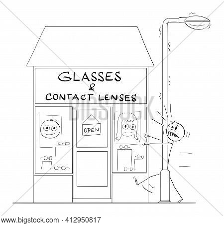 Poorly Seeing Man Hit The Streetlight In Front Of Glasses And Contact Lenses Shop. Humor In Vector C