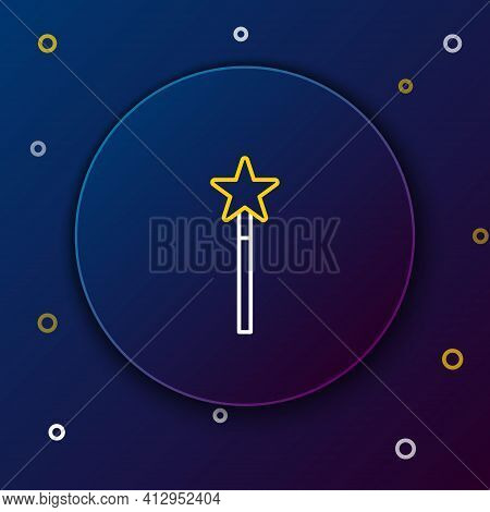 Line Magic Wand Icon Isolated On Blue Background. Star Shape Magic Accessory. Magical Power. Colorfu