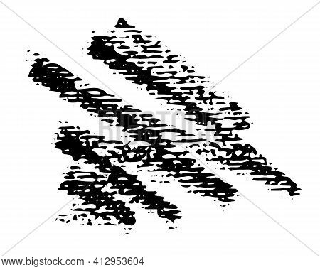 Abstract Crayon On White Background. Simple Black Crayon Scribble Texture. Wax Pastel Spot. It Is A