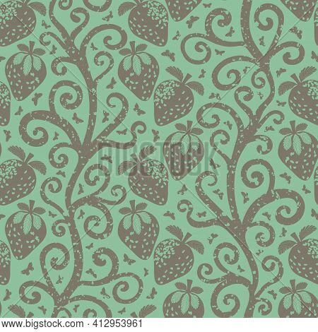 Strawberry Linocut Indian Florals Style Seamless Vector Pattern Background. Winding Stems With Berri