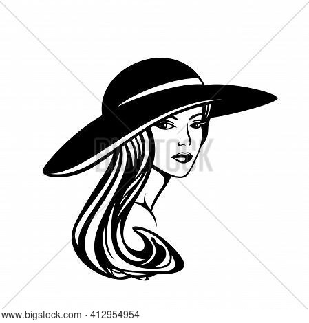 Elegant Woman With Longgorgeous Hair Wearing Wide Brimmed Hat - Glamour And Beauty Concept Vector Po
