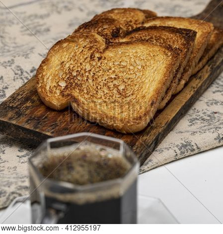 Toast And Cup Of Coffee For Breakfast