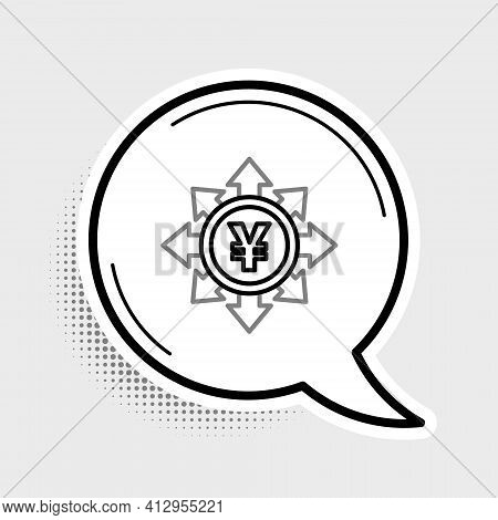 Line Coin Money With Yen Symbol Icon Isolated On Grey Background. Banking Currency Sign. Cash Symbol