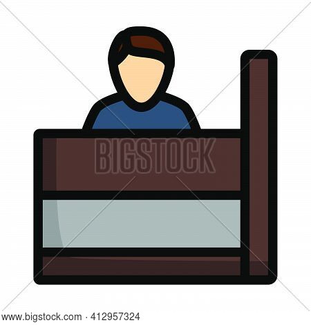 Bank Clerk Icon. Editable Thick Outline With Color Fill Design. Vector Illustration.