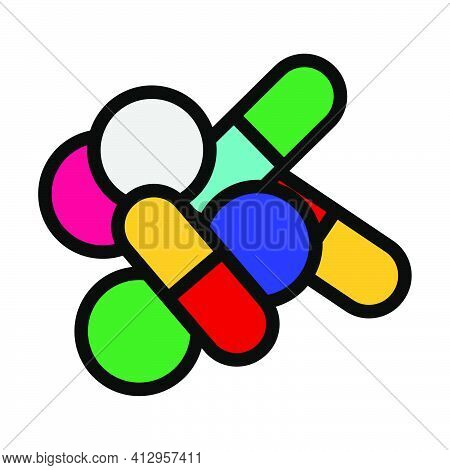 Pill And Tabs Icon. Editable Thick Outline With Color Fill Design. Vector Illustration.