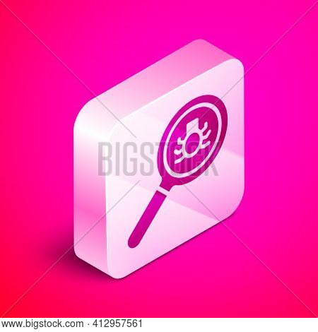 Isometric Flea Search Icon Isolated On Pink Background. Silver Square Button. Vector