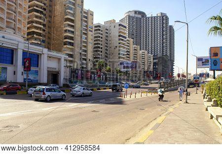 Alexandria - Egypt - October 08, 2020: Main Street Of Alexandria Touristic City. Empty Corniche Aven