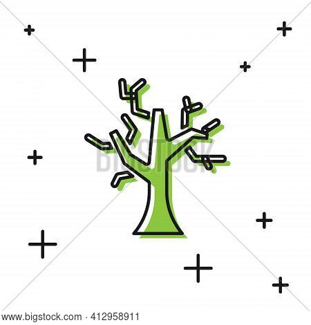 Black Withered Tree Icon Isolated On White Background. Bare Tree. Dead Tree Silhouette. Vector