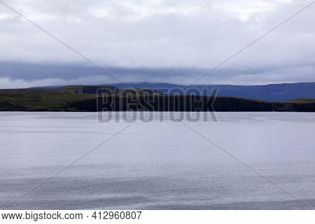 Portree - Skye Island (scotland), Uk - August 14, 2018: The Landscape Near Kilt Rock View Point, Por