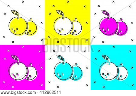 Set Tangerine Icon Isolated On Color Background. Merry Christmas And Happy New Year. Vector