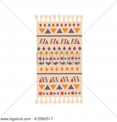 Close-up Colorful Carpet Icon. Home Decoration. Carpet On The Floor, Striped Decor With Warm Cotton