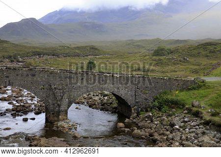 Sligachan - Skye Island (scotland), Uk - August 14, 2018: Sligachan Old Bridge Looking Towards The C