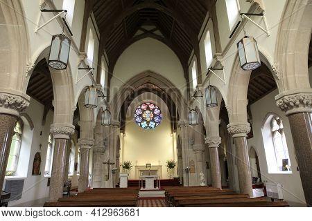 Skye Island (scotland), Uk - August 15, 2018: St Mary St Finnan's Church Inside, Inner Hebrides, Sco