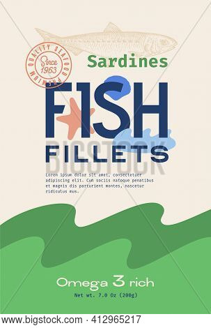 Fish Fillets Abstract Vector Packaging Design Or Label. Modern Typography, Hand Drawn Sardine Silhou