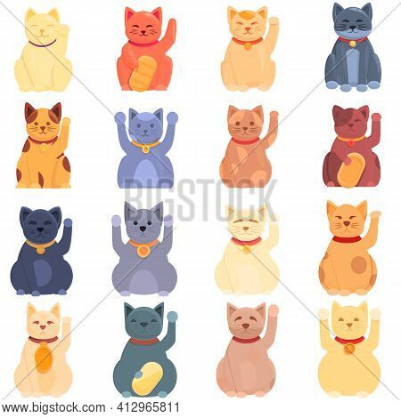 Lucky Cat Icons Set. Cartoon Set Of Lucky Cat Vector Icons For Web Design