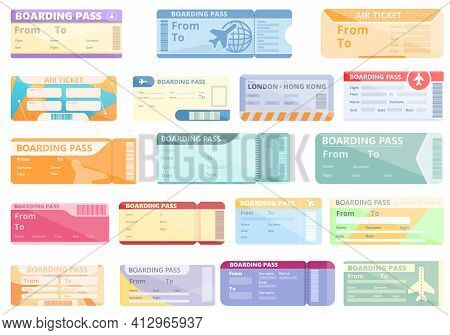 Airline Tickets Icons Set. Cartoon Set Of Airline Tickets Vector Icons For Web Design