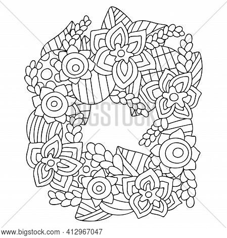 Easter Wreath With Flowers, Leaves, Eggs Coloring Page Stock Vector Illustration. Ornamental Hand Dr