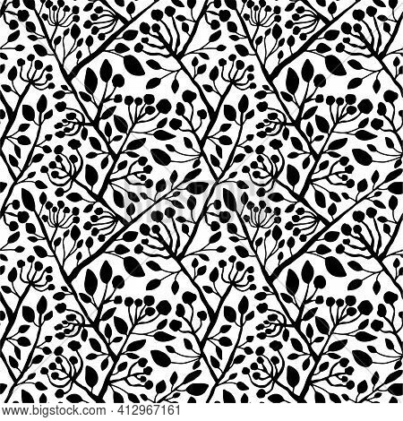Black And White Floral Seamless Pattern Vector. Hand Drawn Branches With Leaves And Flowers Endless